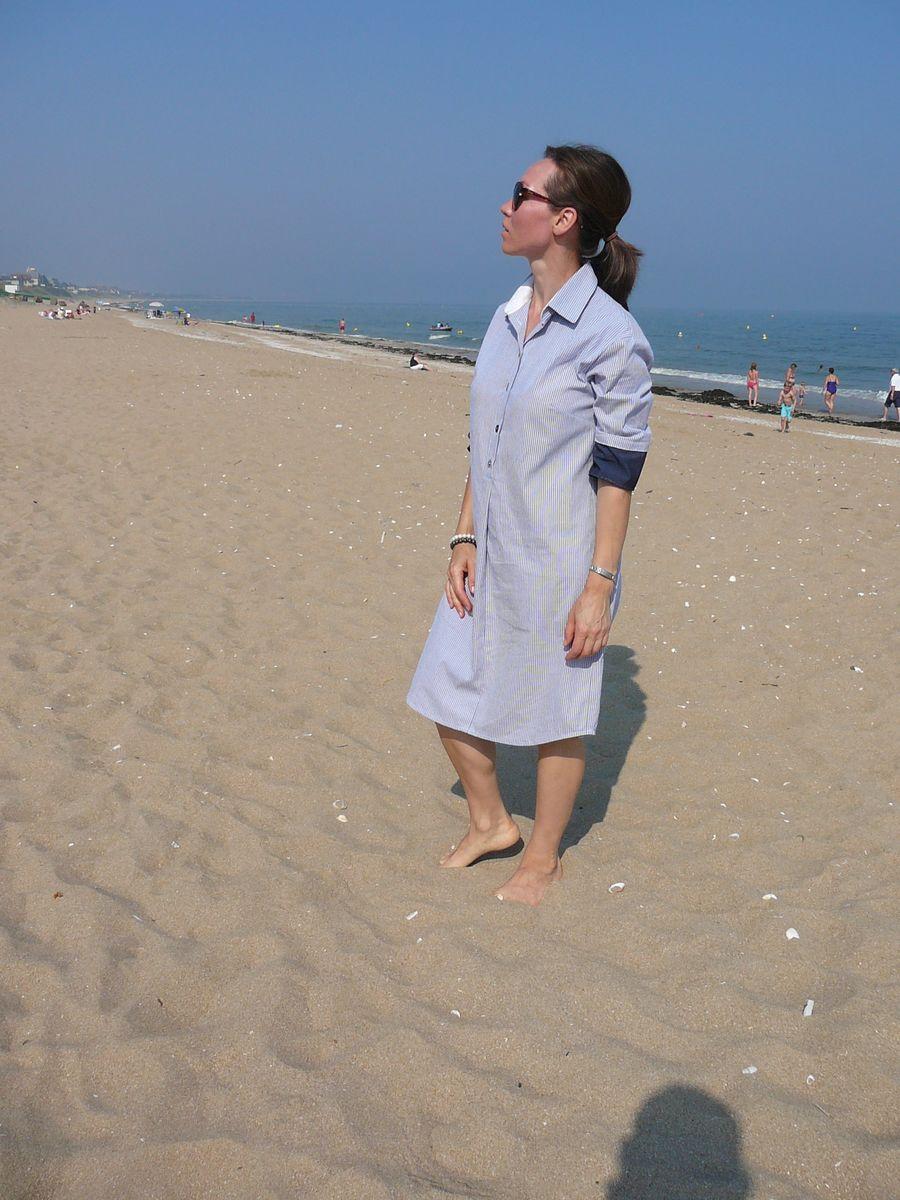 Robe-chemise en coton. Платье-рубашка в полоску.